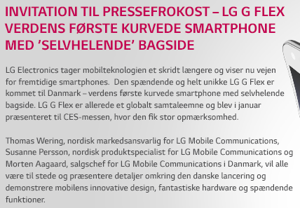 Invitation til presselancering for LG G Flex