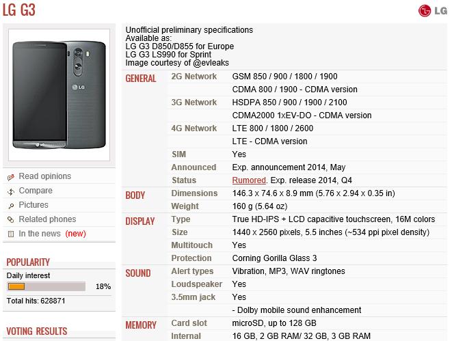 LG G3 GSMArena